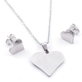 35584-97 SET OF CHAIN, PENDANT AND MATCHING EARRINGS IN STAINLESS STEEL