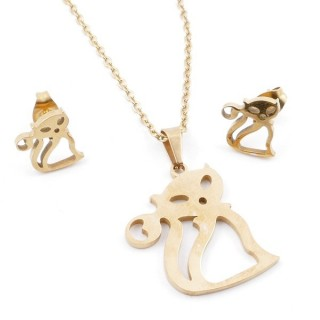 49395-01 SET OF CHAIN, PENDANT AND MATCHING EARRINGS IN GOLDEN STAINLESS STEEL