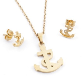 49395-06 SET OF CHAIN, PENDANT AND MATCHING EARRINGS IN GOLDEN STAINLESS STEEL