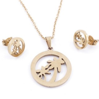 49395-08 SET OF CHAIN, PENDANT AND MATCHING EARRINGS IN GOLDEN STAINLESS STEEL