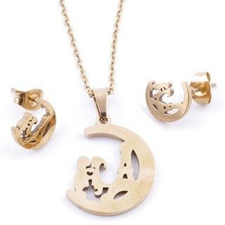 49395-12 SET OF CHAIN, PENDANT AND MATCHING EARRINGS IN GOLDEN STAINLESS STEEL