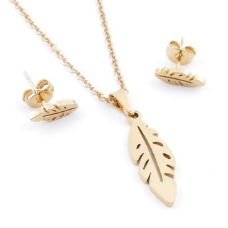 49395-15 SET OF CHAIN, PENDANT AND MATCHING EARRINGS IN GOLDEN STAINLESS STEEL