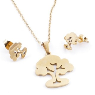 49395-17 SET OF CHAIN, PENDANT AND MATCHING EARRINGS IN GOLDEN STAINLESS STEEL