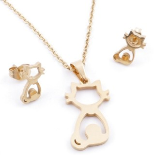 49395-18 SET OF CHAIN, PENDANT AND MATCHING EARRINGS IN GOLDEN STAINLESS STEEL