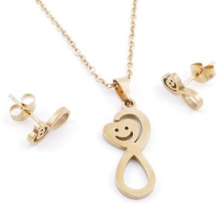 49395-19 SET OF CHAIN, PENDANT AND MATCHING EARRINGS IN GOLDEN STAINLESS STEEL