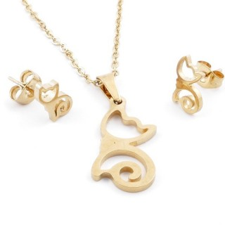 49589-01 SET OF CHAIN, PENDANT AND MATCHING EARRINGS IN GOLDEN STAINLESS STEEL
