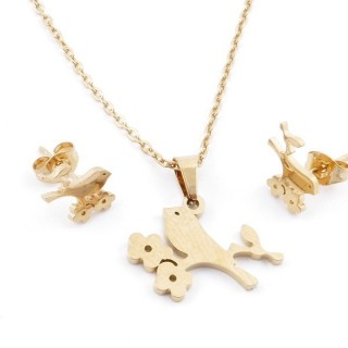 49589-08 SET OF CHAIN, PENDANT AND MATCHING EARRINGS IN GOLDEN STAINLESS STEEL