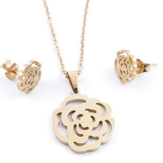 49589-09 SET OF CHAIN, PENDANT AND MATCHING EARRINGS IN GOLDEN STAINLESS STEEL