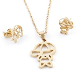 49589-10 SET OF CHAIN, PENDANT AND MATCHING EARRINGS IN GOLDEN STAINLESS STEEL