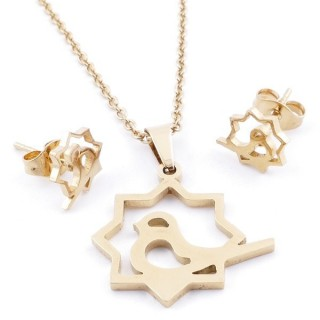 49589-11 SET OF CHAIN, PENDANT AND MATCHING EARRINGS IN GOLDEN STAINLESS STEEL