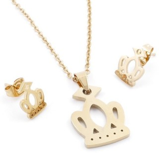 49589-12 SET OF CHAIN, PENDANT AND MATCHING EARRINGS IN GOLDEN STAINLESS STEEL
