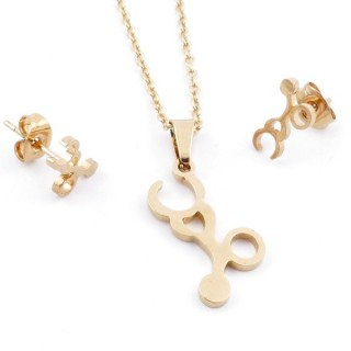49589-14 SET OF CHAIN, PENDANT AND MATCHING EARRINGS IN GOLDEN STAINLESS STEEL