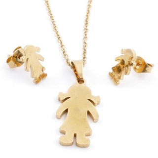 49589-15 SET OF CHAIN, PENDANT AND MATCHING EARRINGS IN GOLDEN STAINLESS STEEL