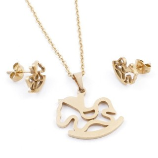 49589-16 SET OF CHAIN, PENDANT AND MATCHING EARRINGS IN GOLDEN STAINLESS STEEL