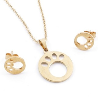 49589-19 SET OF CHAIN, PENDANT AND MATCHING EARRINGS IN GOLDEN STAINLESS STEEL