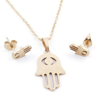 49589-21 SET OF CHAIN, PENDANT AND MATCHING EARRINGS IN GOLDEN STAINLESS STEEL