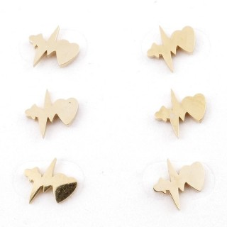 31203-69 PACK OF 3 PAIRS OF STAINLESS STEEL POST EARRINGS IN GOLD COLOUR