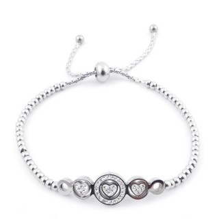 49583-01 LADIES' STAINLESS STEEL FRIENDSHIP BRACELET WITH GLASS STONES