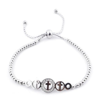 49583-02 LADIES' STAINLESS STEEL FRIENDSHIP BRACELET WITH GLASS STONES