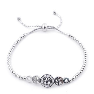 49583-03 LADIES' STAINLESS STEEL FRIENDSHIP BRACELET WITH GLASS STONES
