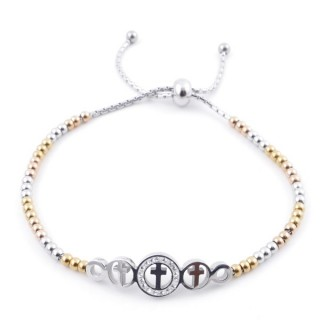 49583-04 LADIES' STAINLESS STEEL FRIENDSHIP BRACELET WITH GLASS STONES