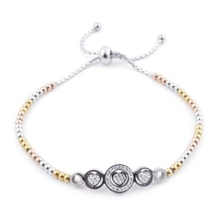 49583-05 LADIES' STAINLESS STEEL FRIENDSHIP BRACELET WITH GLASS STONES