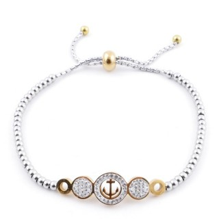 49583-06 LADIES' STAINLESS STEEL FRIENDSHIP BRACELET WITH GLASS STONES