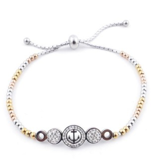 49583-07 LADIES' STAINLESS STEEL FRIENDSHIP BRACELET WITH GLASS STONES