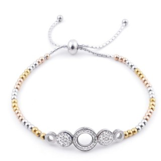 49583-08 LADIES' STAINLESS STEEL FRIENDSHIP BRACELET WITH GLASS STONES