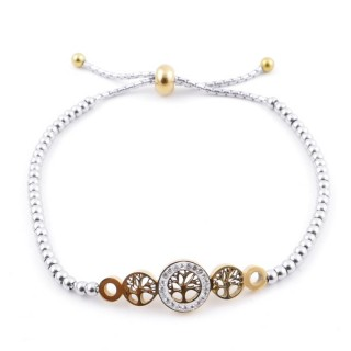 49583-09 LADIES' STAINLESS STEEL FRIENDSHIP BRACELET WITH GLASS STONES