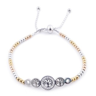 49583-10 LADIES' STAINLESS STEEL FRIENDSHIP BRACELET WITH GLASS STONES