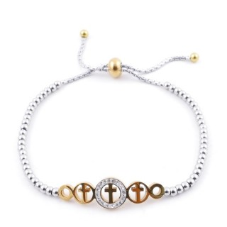 49583-11 LADIES' STAINLESS STEEL FRIENDSHIP BRACELET WITH GLASS STONES