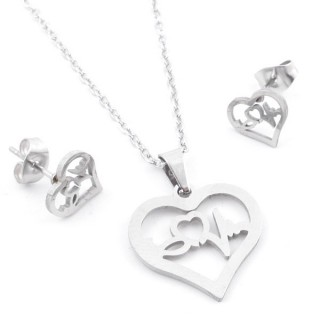 49397-02 SET OF CHAIN, PENDANT AND MATCHING EARRINGS IN STAINLESS STEEL