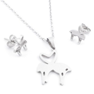 49397-03 SET OF CHAIN, PENDANT AND MATCHING EARRINGS IN STAINLESS STEEL