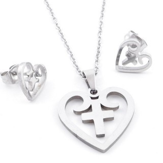 49397-05 SET OF CHAIN, PENDANT AND MATCHING EARRINGS IN STAINLESS STEEL