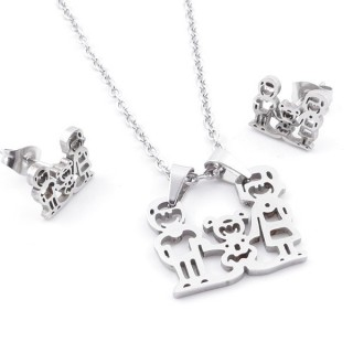49397-06 SET OF CHAIN, PENDANT AND MATCHING EARRINGS IN STAINLESS STEEL