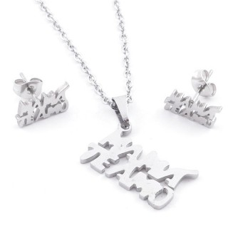 49397-07 SET OF CHAIN, PENDANT AND MATCHING EARRINGS IN STAINLESS STEEL