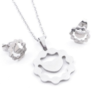49397-09 SET OF CHAIN, PENDANT AND MATCHING EARRINGS IN STAINLESS STEEL