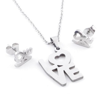 49397-12 SET OF CHAIN, PENDANT AND MATCHING EARRINGS IN STAINLESS STEEL