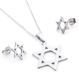 49397-13 SET OF CHAIN, PENDANT AND MATCHING EARRINGS IN STAINLESS STEEL
