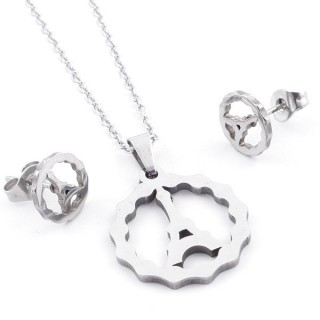 49397-14 SET OF CHAIN, PENDANT AND MATCHING EARRINGS IN STAINLESS STEEL