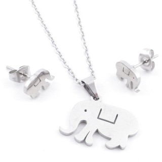 49397-15 SET OF CHAIN, PENDANT AND MATCHING EARRINGS IN STAINLESS STEEL