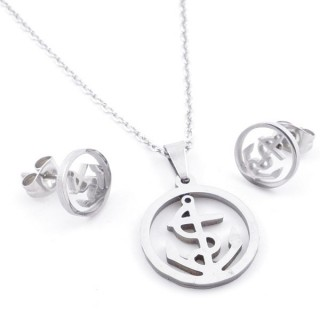 49397-16 SET OF CHAIN, PENDANT AND MATCHING EARRINGS IN STAINLESS STEEL