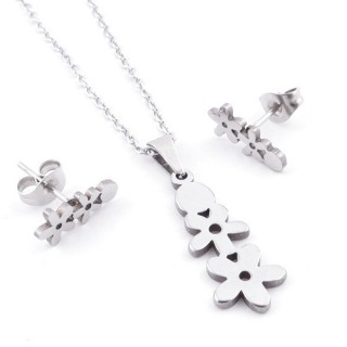 49397-18 SET OF CHAIN, PENDANT AND MATCHING EARRINGS IN STAINLESS STEEL