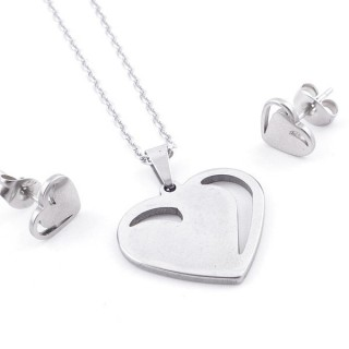 49397-19 SET OF CHAIN, PENDANT AND MATCHING EARRINGS IN STAINLESS STEEL