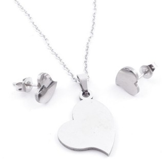 49397-20 SET OF CHAIN, PENDANT AND MATCHING EARRINGS IN STAINLESS STEEL