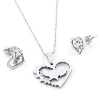49397-22 SET OF CHAIN, PENDANT AND MATCHING EARRINGS IN STAINLESS STEEL