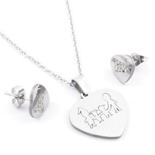 49397-23 SET OF CHAIN, PENDANT AND MATCHING EARRINGS IN STAINLESS STEEL