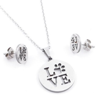 49397-24 SET OF CHAIN, PENDANT AND MATCHING EARRINGS IN STAINLESS STEEL