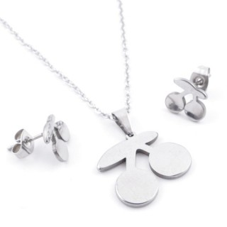 49397-26 SET OF CHAIN, PENDANT AND MATCHING EARRINGS IN STAINLESS STEEL